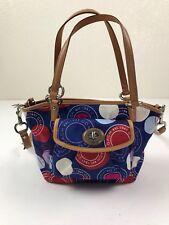COACH Leah Multicolor Blue Sateen Brown Leather Tote Satchel Purse Bag F14730