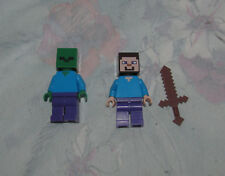 Lego Minecraft Figures - Steve, Zombie, Brown Sword - Minifigures, Minifigs