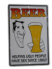 """Beer Helping Ugly People Have Sex  8""""x12"""" Aluminum Metal Plate Parking Sign"""