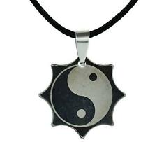 Unisex  Mens Women Alloy Ying Yang Pendant Necklace Leather Chain UK Seller
