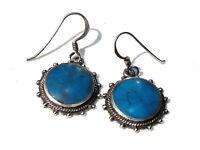 Bijou argent 925 boucles d'oreilles pendantes turquoise avec ....  earrings