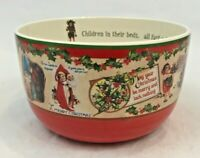 Bethany Lowe Christmas Bowl Serving Dish Father Christmas Holly Old World Large