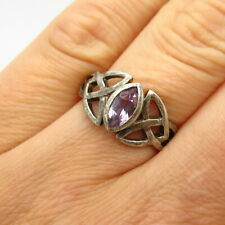 925 Sterling Amethyst Gem Celtic / Viking Knot & Triquetra Design Ring Size 7
