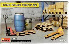 MiniArt Hand Pallet Jack/Truck Set w/ Pallets, Drums in 1/35 606 For Dioramas ST