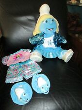 Rare Smurfette Girl Smurf Build a Bear With Sequin Jacket & Shoes Skirt Slippers