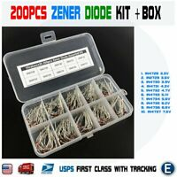 200pcs Zener Diode Assortment Kit + Box 3.3 3.6 3.9 4.3 4.7 5.1 5.6 6.2 6.8 7.5V