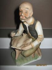 Ceramic figurine old man no 7 sitting with fish bowl size 140 to 185 mm ex/cond