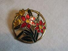 Red Enamel Flower Openwork Circle Nice Beautiful Brooch Pin Gold Tone Gold Green