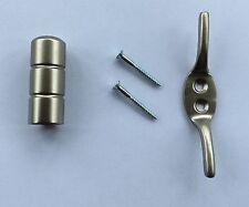 Matt Nickel Barrel Cord Weight & Cleat for Roman Blinds - cord Pull/Light pull