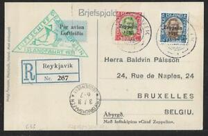 ZEPPELIN ICELAND TO BELGIUM ZEPPELIN COVER 1931 CV$350.00 ONLY STAMPS