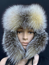 Amber Fox Fur Ushanka Hat With Brown Leather. Saga Furs. Regular Women s  Size 971421ee393f