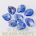 10pcs 20X17mm Deep Blue Twist Lampwork Glass Spacer Loose Beads Jewelry Findings