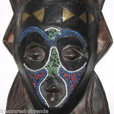 "African Wood Mask Hand Carved Beaded Benin or Senegal Africa 17"""