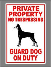 Metal Doberman Guard Dog On Duty Sign Private Property No Trespassing New