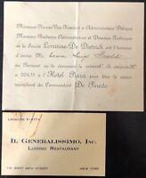 Freddi L. invito banchetto in Onore del Trionfale ritorno del Pilota De Pinedo