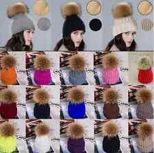 Womens Girls Winter Beanie with Real Raccoon Fur Pom Pom Wool Knittd Cuff Hat