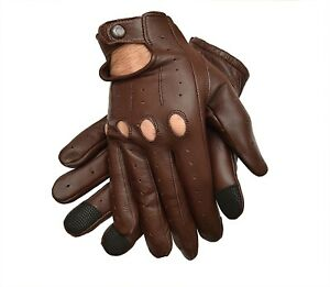 MEN's GENUINE LEATHER DRIVING RIDING GLOVES TEXTING GLOVES!! BROWN