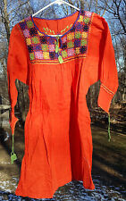 Maya Mexican Blouse Top Shirt Embroidered Flowers Huipil Chiapas Orange Medium