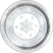 Servizio da tavola di Natale-Fiocco di neve Scintillante Metallico grandi piatti di carta - 30cm