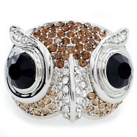 Vintage Fashion Clear Brown Crystal Black CZ Alloy Owl Ring Size 7,8,9