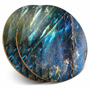2 x Coasters - Macro Blue Crystal Moonstone Home Gift #3438