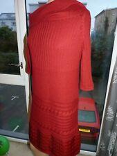 BLACKY DRESS BERLIN LONG RED COWL NECK JUMPER DRESS HEM DETAIL UK 14 EU 42