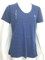 Adidas Womens Ultimate Short Sleeve Tee Size Large Navy Blue Stripe NEW