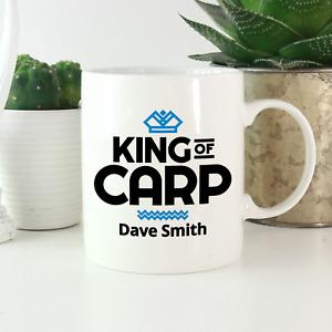 Personalised Fishing Gifts For Men: King Of Carp Mug - Funny Joke Christmas Gift
