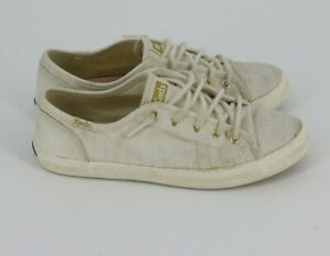 Keds Big Girls Lace Up Sneakers Canvas Ivory White Shoes Size 4 M