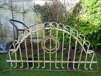 Antique Ornate Heavy Fabricated Wrought Iron Architectural Over Door Arch