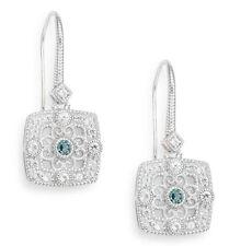 NEW $400 Judith Ripka Earrings Filigree White Sapphire Silver London Blue Spinel