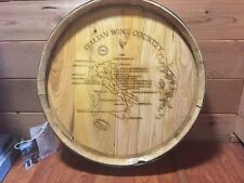New Vintage Wood Wine Barrel Top Italian Wine Country Map Decor Made Italy $700