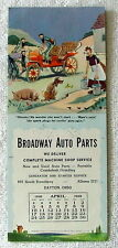 1949 COMIC INK BLOTTER BROADWAY AUTO PARTS DAYTON OHIO HILLBILLIES DOG OLD CARS