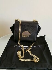 BCBGMAXAZRIA Evianna Black Lizard Leather Chain Clutch Shoulder Small Bag $128
