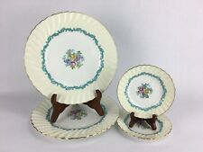 Minton England China Ardmore Ivory Turquoise Gold Trim Dinner & Dessert Plates