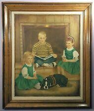 1950s NUCLEAR FAMILY LARGE VINTAGE OIL PAINTING CHILDREN PORTRAIT 30x36