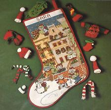 """1992 Candamar City / Town Cats Cross Stitch Christmas Stocking Kit NIP 12x17"""""""
