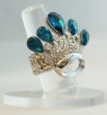 """Crown Blue Princess Crystal 1.5"""" Silver Plated Stretch Band Cocktail Ring Gift"""
