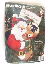 Bucilla Christmas Stocking Kit Santa Rudolph Felt Applique 83388 Vintage 1996