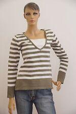 Damen dünner Pullover Langarm grau weiß gestreift S (1704B-BR-OH3#) 02/2020SD