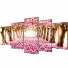 S# Set of 5 Cherry Blossom Canvas Prints Framed Wall Art Decor Painting 200x100c