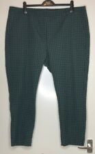 M&S Green Geometric womens trousers Size 22 REGULAR Marks And Spencer