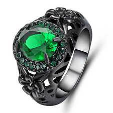 Wedding Fashion Jewelry Size 7 Women Men 18k Black Gold Filled Emerald Rings