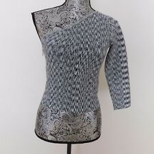 Nwt $89 Guess Black & White Knit Body-Con 3/4 Sleeve One Shoulder Crop Top.....M