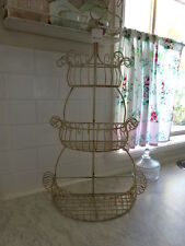3 TIER metal HALF BASKET fruit kitchen bathroom SHABBY French provincial cream