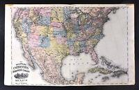 1875 Railroad Map United States Canada Mexico Cuba Dakota Indian Territory OK