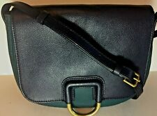 Fossil Womens Crossbody Stella Blue & Green Leather Saddle Bag Purse Handbag