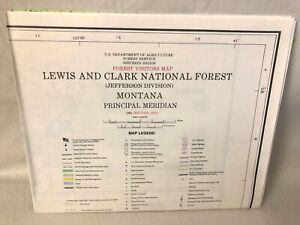 USDA Lewis and Clark National Forest Jefferson Montana Visitors Map 1980