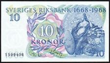 1968 SWEDEN 10 KRONOR BANKNOTE * 1399408 * aUNC * P-56a *