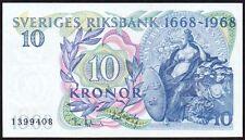 Billete Suecia 10 coronas 1968 * 1399408 * AUNC * P-56a *